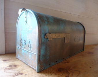STANDARD SIZE *Custom Aged Copper Verde Patina Mailbox **With House Number**