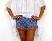 Pom Pom Shorts, Cobalt Blue Snake Print with Bright Orange or White Cotton Pom Pom's - 70's inspired gym shorts
