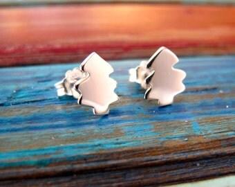 Christmas Tree Earrings, Sterling Silver Christmas Earrings