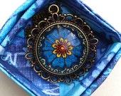 Divine Flower Necklace Floral Art Blue Design Henna Mehndi Vintage Style Hand Drawn Handmade Jewelry Happiness Symbolism