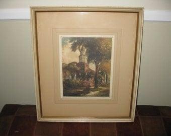 "BRUTON PARISH CHURCH Framed and Hand Signed A F Mettel Williamsburg Va. 17 1/4"" x 15 1/4"""