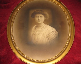 """ANTIQUE FRAME And PHOTOGRAPH-Beautiful Lady In Oval Frame 22"""" x 18"""""""