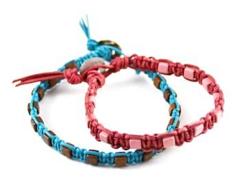 Leather Shamballa Macrame Wrist/Ankle Bracelet with Ceramic Beads