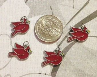 Enamel Red Cardinal Charms QTY 3, #2 Round Bird