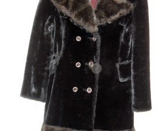 1960's-early 70's Black  Faux Fur Coat Stylish and Hip Exc. Condition. Heavy and Warm