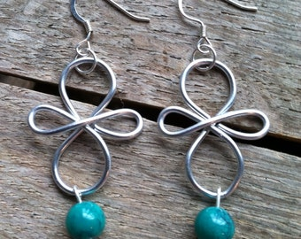 Wired Earrings with Teal Beads ER-061914-9
