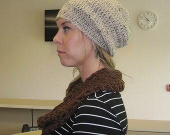 Crochet Slouchy Beanie - Light Beige with Black & Brown Flecks