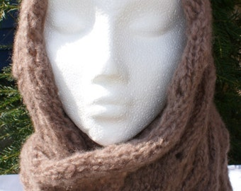 Ladies soft fluffy muted mink brown infinity scarf
