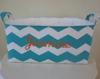 Large Fabric Bin with monogram - Diaper Caddy - Dorm Organization