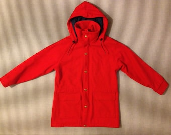 1980's, red wool, Woolrich brand, hooded parka, with navy blue lining