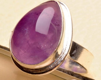 Gorgeous Purple Amethyst Silver Ring Size 8 Perfect Gift
