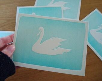 Letterpress kaart met zwaan op ambachtelijke wijze gedrukt