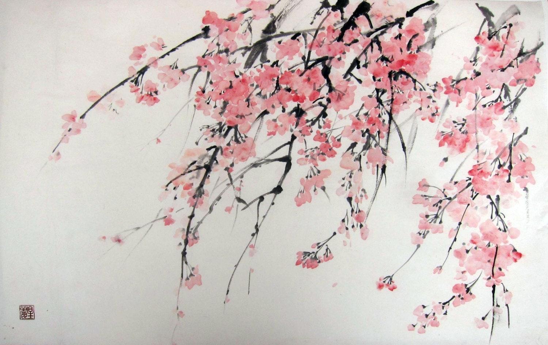 Sakura Japanese ink painting Suibokuga Sumi-e Cherry Blossoms