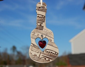 Musical Sun Catchers, Ceramic Musical Instrument Ornaments, Violin Ornament, Piano Ornament, Music Lover Gift, Guitar Ornament, Music Notes