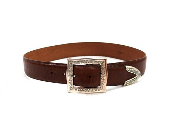 90s brown leather brighton belt chunky etched by asburyhill