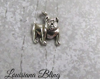 12 Pieces Bulldog Mascot Single Sided Charm 16x14mm Antique Silver Finish, bulldog charms, 9-12-AS