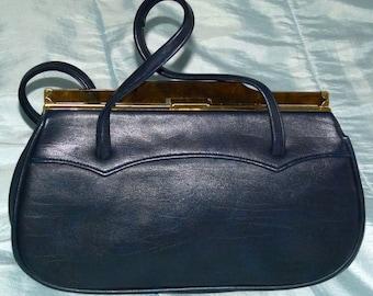 Smart Navy Blue Handbag - 1950s