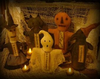 Primitive Halloween Stump Doll Collection