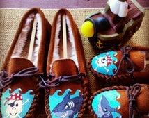 Custom Painted Pirate and Shark Minnetonka Slipper Moccasins