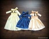 Custom Vintage Peach, Royal Blue, or Lemon Yellow Pindot Lawn Smocked Dress; Steady As She Goes baby toddler girl 0 3 6 12 18 24 2T 3T white