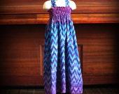 Blue Ombre Chevron Smocked Maxi Dress by Steady As She Goes navy teal purple violet zig zag stripe halter beach sundress girls 2T 3T 4 5 6 7