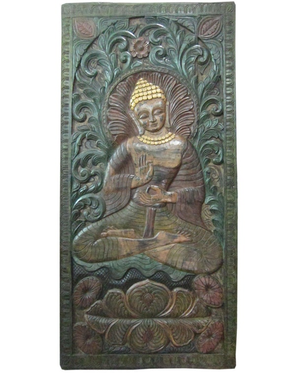 Intricately hand carved wood teaching buddha door by
