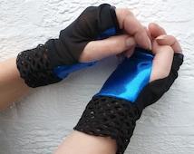 Blue shine black mesh fingerless gloves steampunk accessories Black fishnet cuffs rock chic texters fingerless mittens Electric blue techie.