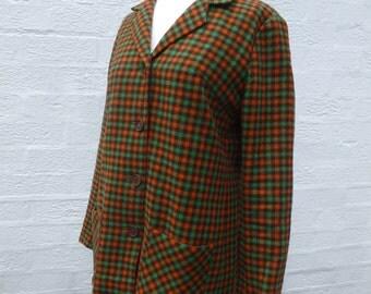 Jacket 1960s boho clothing green jacket ladies vintage 60s clothes secretary jacket winter clothing office 60s jacket wool plaid clothing.