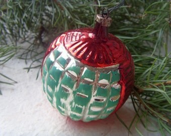 Rare Soviet Vintage Red and Green Christmas Ball, Made of Glass in USSR in 1968