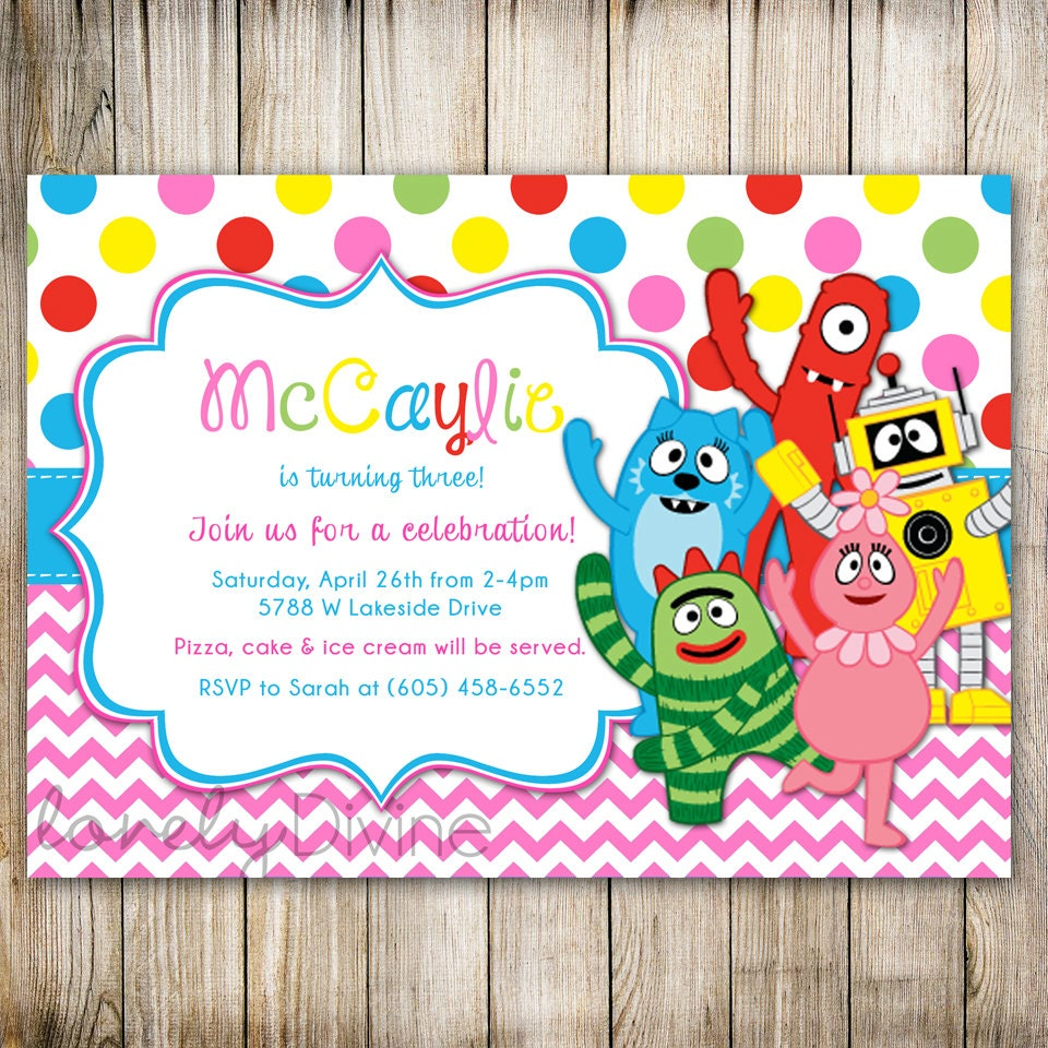 yo gabba gabba chevron birthday invitation yogabba gabba, Wedding invitations