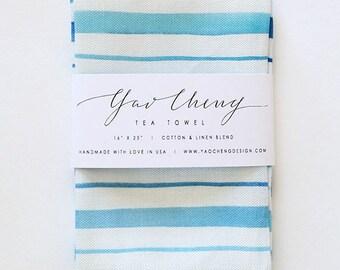 Blue Stripe- Watercolor Tea Towel
