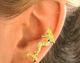 Sitting Mermaid Ear Cuff  in  Gold Vermeil - SINGLE - Left Ear Only