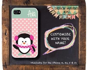 Penguin Polkadot Monogram iPhone Case, Personalized iPhone Case, iPhone 4, 4s, iPhone 5, 5s, iPhone 5c, iPhone 6, 6s, 6 Plus, Phone Cover