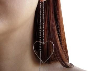 Sterling silver threader earrings, silver thread earrings, long chain earrings, ear thread heart earrings, pull through minimalist earrings