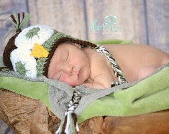 Crochet Owl Earflap Hat Newborn to Child