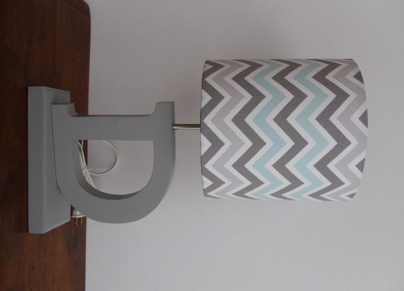 Small Blue Grey White Chevron Drum Lamp Shade Nursery Or