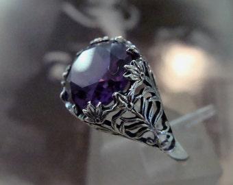 Lovely Sterling Filigree Alexandrite Ring  Size 6 1/2 Art Nouveau design