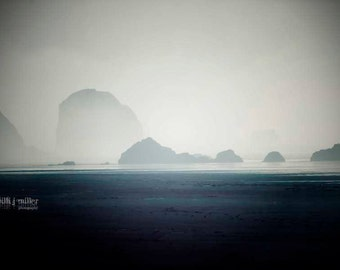 black and white - minimalist photograph - ocean photograph - yoga studio - meditation studio - wall art - large wall print - canvas print