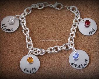 Mother's day gift personalized charm mom/grandma charm bracelet birthstones