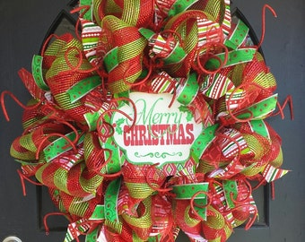 30% off SALE! Use code baby2016. Merry Christmas!  Red and Green Deco Mesh Wreath with Sign