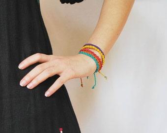 Summer Friendship Bracelets / Set of 5 Macramé Bracelets / Bold Color Mix / Knotted Jewelry /  Stackable Tiny Bracelets