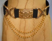 Vintage Chanel Hermes Lieber Style Black Belt with Gold Buckle and Hanging Chains Size Small