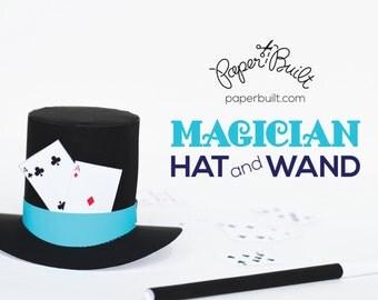 Paper Magician Top Hat, Paper Wand, Magic Party, Dress Up, Magician, Abracadabra, Little Magician, Paper Craft, Magic Trick, Pretend Play