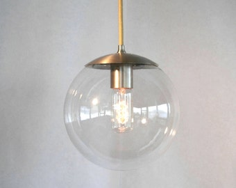 Modern mid century globe pendant light clear by for Mid century modern globe pendant light