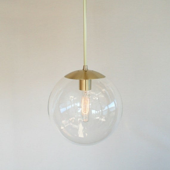 Mid Century Modern 10 Globe Pendant Light Clear Glass