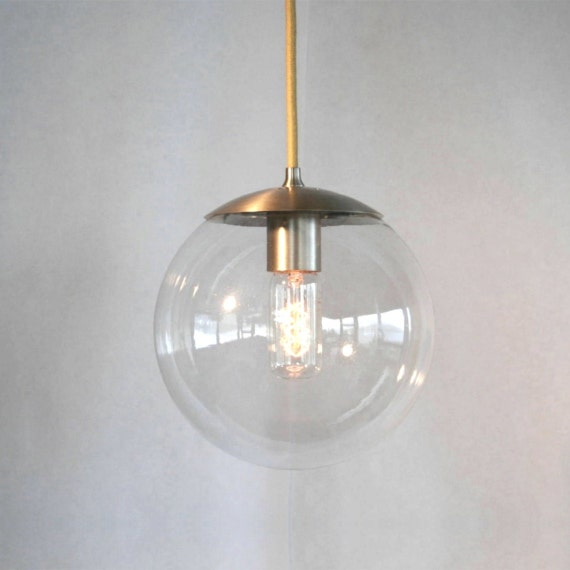 Mid century modern clear 8 globe pendant light by for Mid century modern globe pendant light