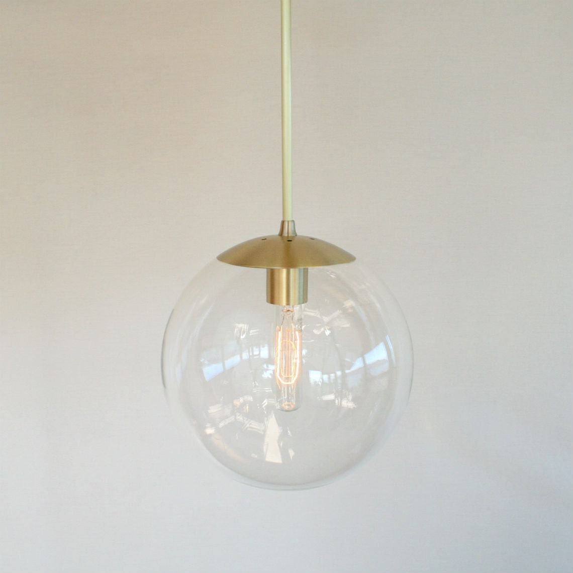Mid century modern 10 globe pendant light clear glass for Mid century modern pendant light fixtures