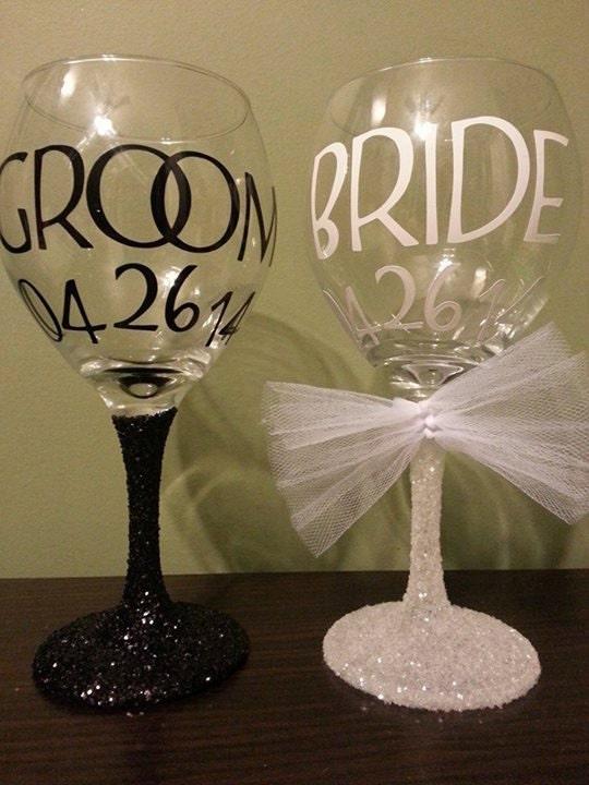 Bride Amp Groom Glitter Stem Wedding Wine Glasses Bridesmaids