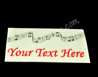 Musical Header - White Cotton Custom Printed Labels / Sew in Clothing labels / Personalized Fabric Labels - For Crochet, Knit, Sewing