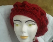 Red Beret Hand Knit Mohair Hat French  Made in France Ball Tag  Medium